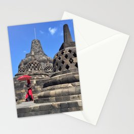 red, rising Stationery Cards