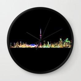 Toronto Skyline At Night From Centre Island Wall Clock