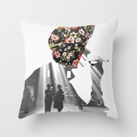 smoking Throw Pillows featuring Smoking by Mrs Araneae