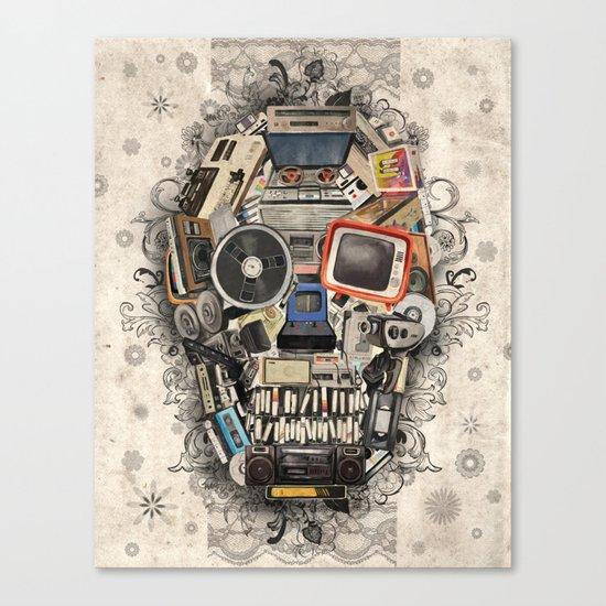 retro tech skull 2 Canvas Print