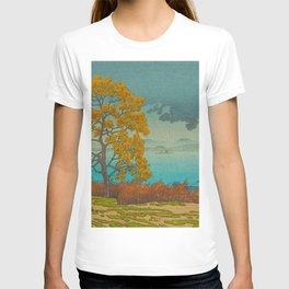 Vintage Japanese Woodblock Print Autumn Japanese Landscape Field Tall Tree T-shirt