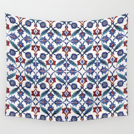 Iznik Tile Pattern Red Blue White Green Wall Tapestry
