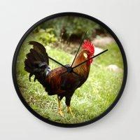 rooster Wall Clocks featuring Rooster by Deborah Lehman