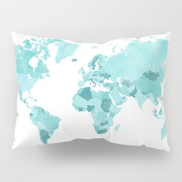 Distressed world map in aquamarine and teal Pillow Sham