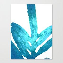 Ocean Blue Fern Canvas Print