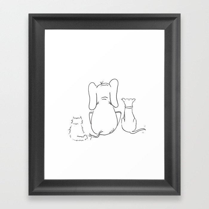 Cat, elephant, and dog friendship trio Framed Art Print