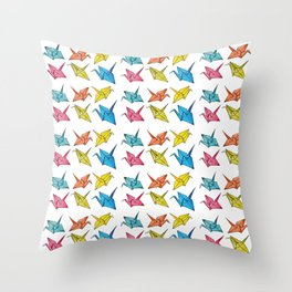 Colourfull paper cranes Throw Pillow