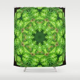 Spring green Canadian Hemlock mandala Shower Curtain