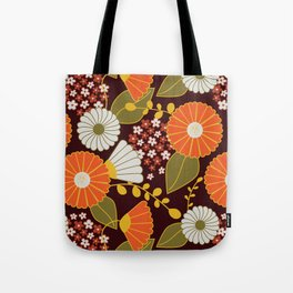 Maroon, Orange, Yellow and Red Retro Flowers Tote Bag
