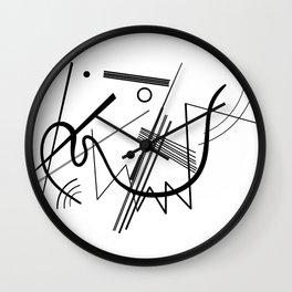 Kandinsky - Black and White Abstract Art Wall Clock