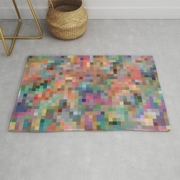Colorful pixelated pattern vibrant colors wallpaper background Rug