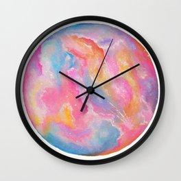 Rainbow Watercolor Moon Wall Clock