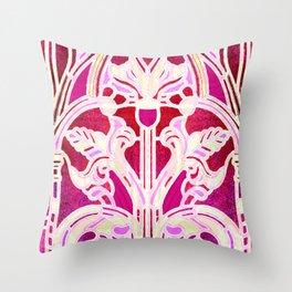 Pink Purple and Red Art Nouveau Batik Pattern Throw Pillow