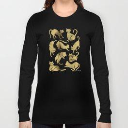 Cat Positions – Gold Palette Long Sleeve T-shirt