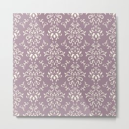 Decorative Pattern in Light Magenta and Cream Metal Print