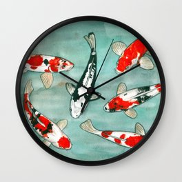 Le ballet des carpes koi Wall Clock
