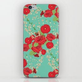 Red roses and poppies on teal iPhone Skin
