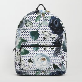Navy Blue Boho Floral with Herringbone Print Backpack
