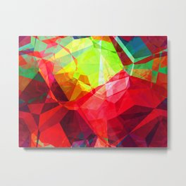 Mixed color Poinsettias 3 Abstract Polygons 1 Metal Print