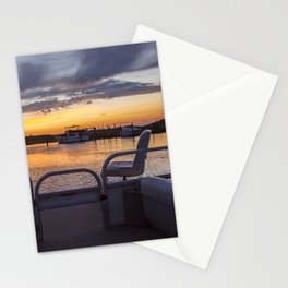 Boat Side Sunset Stationery Cards