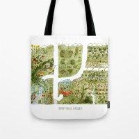 vegetable Tote Bags featuring Vegetable Garden by Aidan Meighan