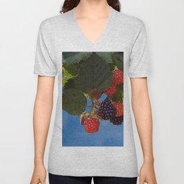 Bramble Branch Black and Red Blackberries Unisex V-Neck