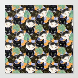 Tropical Floral Pattern with Cute Cat Portraits Canvas Print