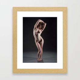 3445-MM Sensual Nude Woman Slim Fit Body Erect Nipples Framed Art Print