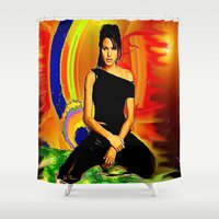 angelina jolie Shower Curtains featuring Angelina Jolie by JT Digital Art