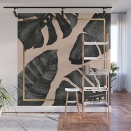 Classic Tropical Palm Leaves Powder Pink and Gold Wall Mural