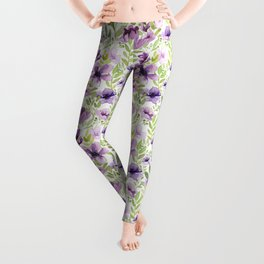 Watercolor/Ink Purple Floral Painting Leggings