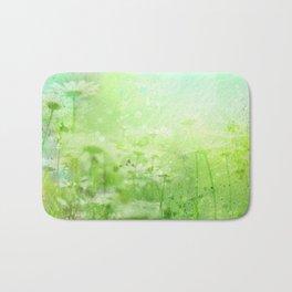 Green Watercolor Floral Bath Mat