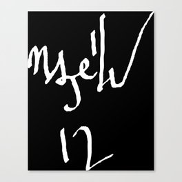 DEVINEAN - WHITE ON BLACK Canvas Print