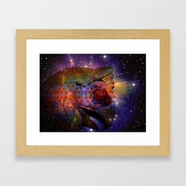 the great persian falcon stares from the cosmos Framed Art Print