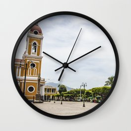Granada Cathedral at the Parque Colon de Granada in Nicaragua Wall Clock