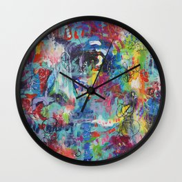 Lady in the  garden abstract painting Wall Clock