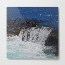 Ocean Waters Spilling Over rocks Metal Print