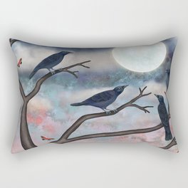 crows, moths, moon Rectangular Pillow