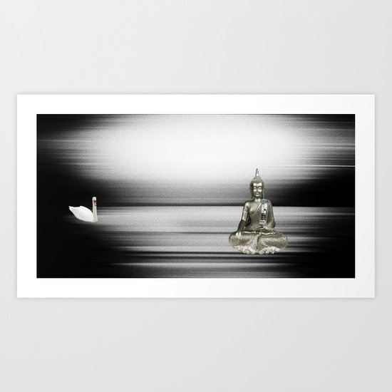 Buddha with swan Art Print