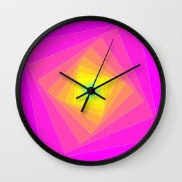 Magenta, Yellow, and Cyan Squares Wall Clock
