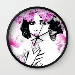 CLARA WOMAN PINK ORCHIDS AND MAGNOLIAS Wall Clock
