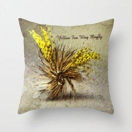 Yellow Fan Wing Mayfly Throw Pillow