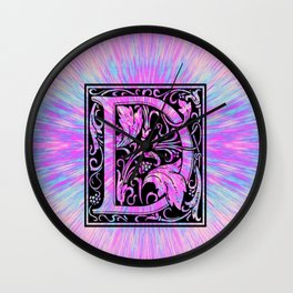 pink initial letter d Wall Clock