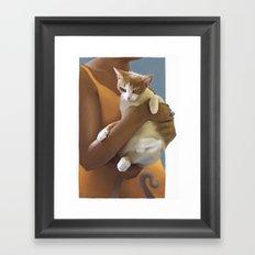 Kitten, Defeeted Framed Art Print