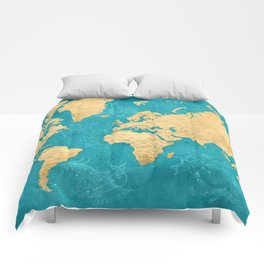 "Detailed wold map with zodiac constellations, ""Lexy"" Comforters"