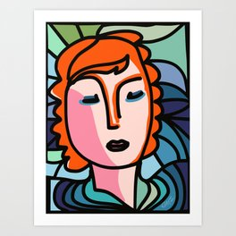 Portrait of Red Hair Girl in a Neo-Cubist Style by Emmanuel Signorino  Art Print