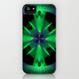 Spinning Wheel Hubcap in Green iPhone Case