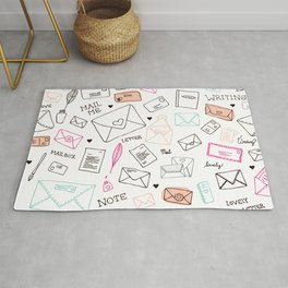 Love letter illustration pattern design Rug