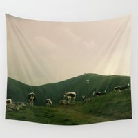 cows Wall Tapestries featuring Cows by Camille Hermant