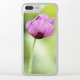 Hungarian Blue Bread Seed Poppy Stem Clear iPhone Case